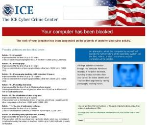 ICE Cyber Crime Center virus