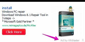 Ad by Kikblaster adware